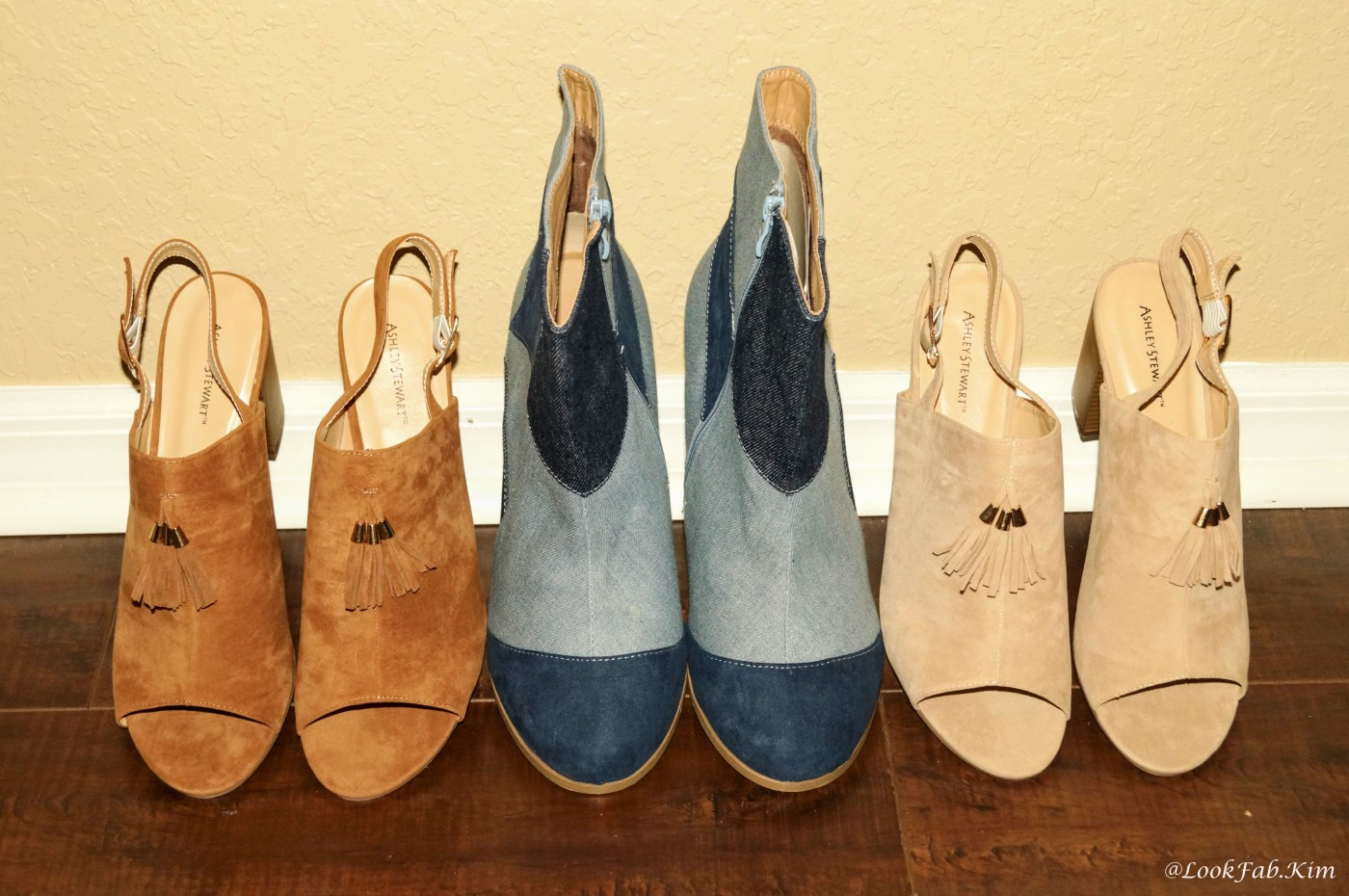 two pairs of block heel mule sandals and a pair of denim patchwork boots