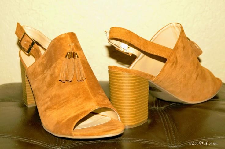 Cognac block heel mule sandals