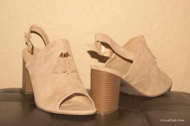 Nude block heel mule sandals