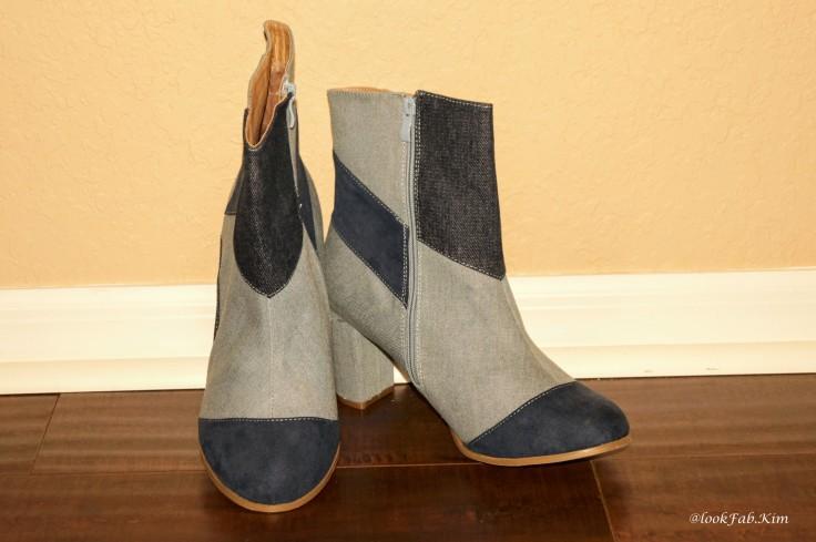 Denim patchwork boots