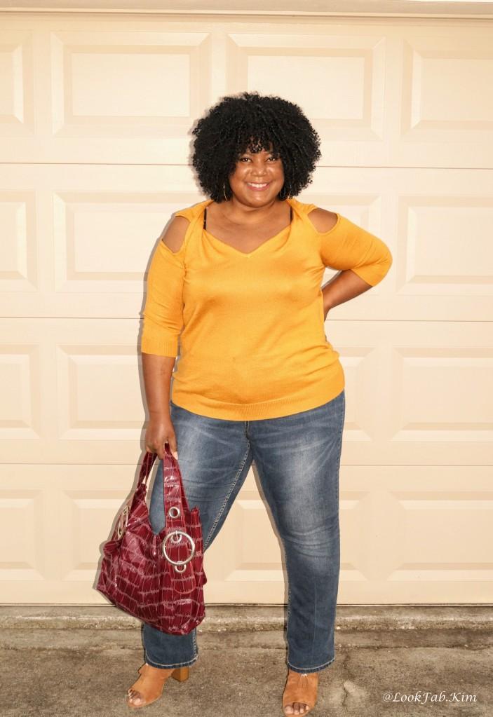 Wool Blend Cold Shoulder Sweater - Color Sunflower