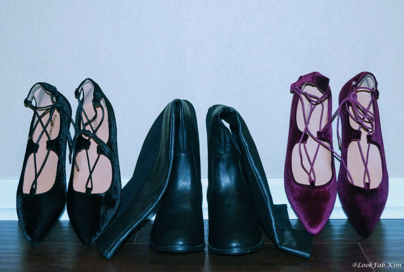 Lace Up Velvet Flat - Plum Purple, Mixed Media Tall Boot - Wide Calf Wide, and Lace Up Velvet Flat - Black