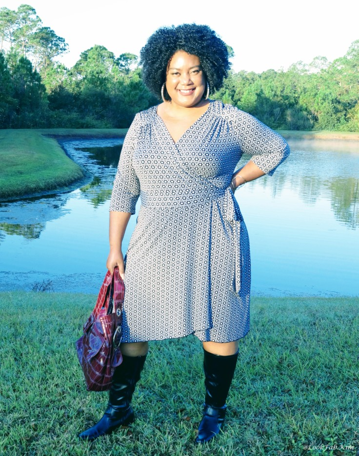 Woman Wearing Wrap Dress Outside