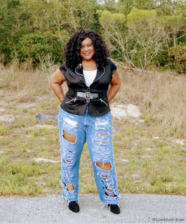 DIY RIPPED BAGGY JEANS FRONT VIEW